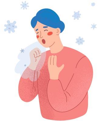 зараженный человек с коронавирусом кашляет